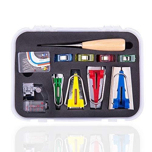 Schrägband Werkzeug Set, Bias Tape Maker, 4 Stücke Schrägbandformer mit Nähnadel, Pinnadeln, Nähenclips, Ahle, Fußpresse für Nähen / Quilten
