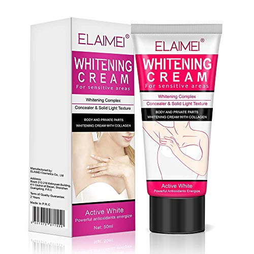 Skin Lightening Bleaching Cream Upgraded Formula with Alpha Arbutin, Collagen & Hyaluronic Acid - for Lightening & Brightening Armpit, Knees, Elbows, Sensitive & Private Areas