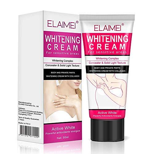 Skin Lightening Bleaching Cream Upgraded Formula with Alpha Arbutin, Collagen & Hyaluronic Acid - for Lightening & Brightening Armpit, Knees, Elbows, Sensitive & Private Areas