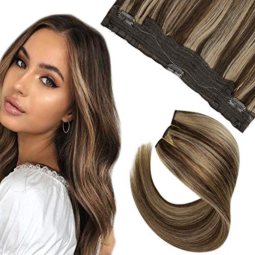Hetto Secret Wire Haloo Hair Extensions Echthaar 14 Zoll Double Weft Extensions mit Unsichtbar Faden 4 Dunkelbraun Colour with 27 Karamellblond Echthaar 50g