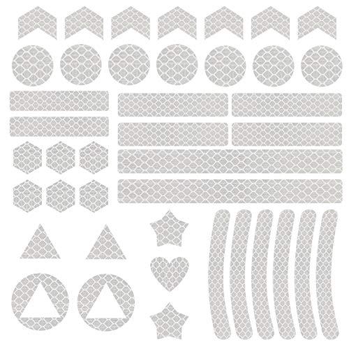 Vegena Reflektor Sticker, 41PCS Reflektoren Aufkleber Sticker Reflektierende Reflexfolie Rucksack Band Wasserfest Hochreflektierend für Kinderwagen Fahrrad Helme Schulranzen Sicherungs-Markierung