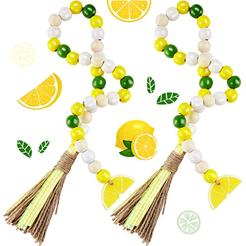 Chuangdi 2 Pieces Lemon Wood Bead Garland Rustic Bead Garland 31.4 Inches Wooden Beads Garland with Tassels Farmhouse Beads Decoration for Wall Hanging Tiered Tray Home Decor