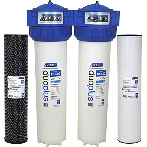 Aquios DuoPlus Jumbo Salt Free Water Softener & Filter System - Salt Free Scale Prevention - Catalytic Carbon Filtration - Chloramine/Chlorine/HS2 Removal - Prevents & Remove Calcium Scale