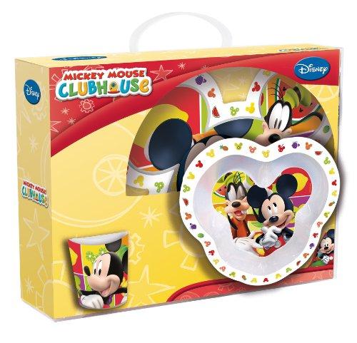 Joy Toy 736095 - Disney Mickey Mouse - Juego de 3 Piezas de malamina: 1 Plato Llano 20 cm, 1 Plato Hondo 14 cm y una Taza 9 cm (245 ml) en Paquete Regalo (27 x 10 x 25 cm)
