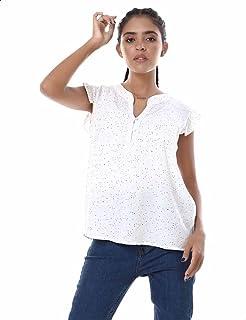 Ravin Dotted Ruffled Cap Sleeves V Neck Blouse for Women