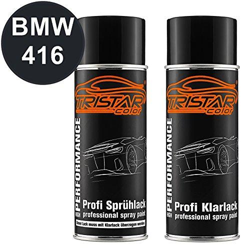 TRISTARcolor Autolack Spraydosen Set für BMW 416 Carbonschwarz Metallic Basislack Klarlack Sprühdose 400ml