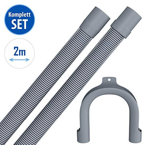 2m Ablaufschlauch für Waschmaschine Geschirrspüler Flexibler Abwasserschlauch für Waschmaschine 2 m 19/22mm Gerade/Gerade mit Bügel