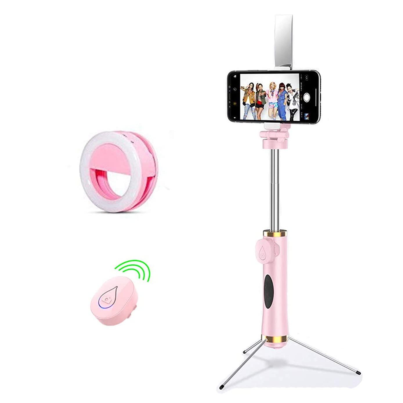 Selfie Stick Tripod, Expandable 80CM Stick with Bluetooth Wireless Remote, Detachable 3 Hidden Tripod Stand and Selfie Ring Light for iPhone X/8/8 Plus/7/6 Plus Android Samsung Galaxy S9/Other Phones