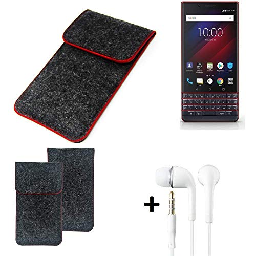 K-S-Trade Handy Schutz Hülle Für BlackBerry Key 2 LE Dual-SIM Schutzhülle Handyhülle Filztasche Pouch Tasche Hülle Sleeve Filzhülle Dunkelgrau Roter Rand + Kopfhörer