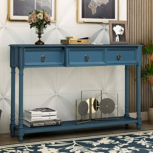 Merax Narrow Console Sofa Table with Drawers and Long Shelf for Living Room, Entryway/Hallway, Antique Navy