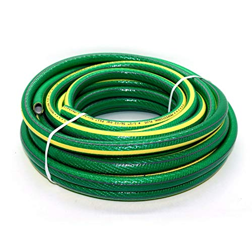 SolaDirect 50 m of 1/2 in 6 Layers Heavy Duty Green Garden Hose Anti Kink Reinforced Pipe Outdoor...