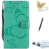 TOUCASA Huawei P10 Handyhülle,Huawei P10 Hülle, Brieftasche flip case Halterung Kartenfächer extra Dünn Klapphülle 3D Butterfly 3D Schmetterling Embossed Technology für Huawei P10(Grün)