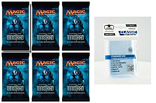 6 x Magic MTG Shadows over Innistrad - Booster Pack - Englisch - English + 100 Ultimate Guard Sleeves - 6 Boosterpackungen Magic: The Gathering