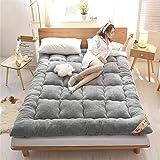 Plush Solid Color Floor Mattress Non-Slip Thicken Japanese Tatami mat Foldable Double Futon Mattress Topper for Bedroom Living Room Dorm Room EtcA-90x200cm(35x79inch)