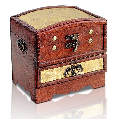 Kleine Schatztruhe 15x12x15cm Holztruhe Schatzkiste Vintage Look Antikes Design Piraten Schatzsuche Holz Rot Braun Schwarz Spardose Schatulle Bauernkasse Holz Sparkasse Truhe