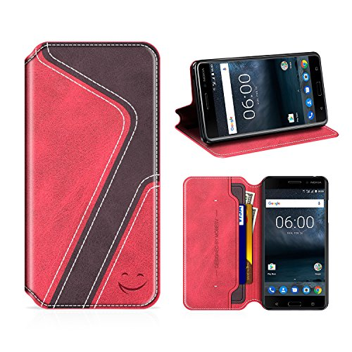 MOBESV Smiley Nokia 6 Hülle Leder, Nokia 6 Tasche Lederhülle/Wallet Hülle/Ledertasche Handyhülle/Schutzhülle mit Kartenfach für Nokia 6, Rot/Dunkel Violett