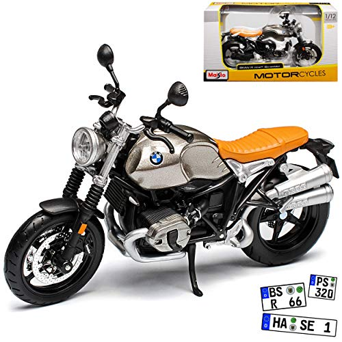 B-M-W R NineT Scrambler Grau Ab 2016 1/12 Maisto Modell Motorrad mit individiuellem Wunschkennzeichen