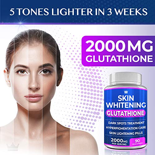 51Rxy43kKWL - Glutathione Whitening Pills - 90 Capsules 2000mg Glutathione - Effective Skin Lightening Supplement - Dark Spots, Melasma & Acne Scar Remover, Hyperpigmentation Treatment - Anti-Aging Antioxidant