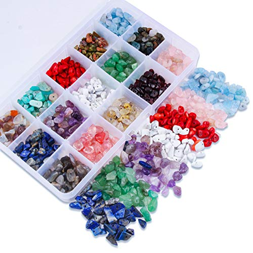 Colle Gemstone Beads Crushed Irregular Chips Beads Set Natural Stone Healing Crystal Loose DIY Beads for Jewelry Making Necklace Bracelet Ring (15 color)