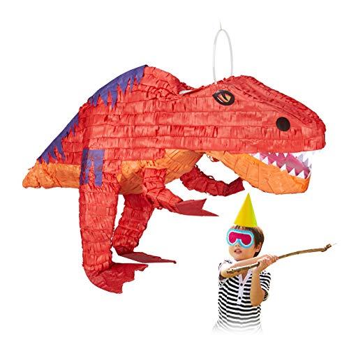 Relaxdays 10028078 Dinopinata, zum Aufhängen, Kinder, Mädchen & Jungs, Geburtstag, zum Befüllen, Papier, Pinata Dinosaurier, rot