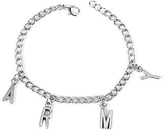 Nuofeng - Kpop BTS Bangtan Boys Letters Pendant Bracelet Hot Gift for A.R.M.Y Map of The Soul 7 Metal Adjustable Bracelet