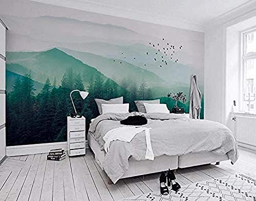 Fondo de pantalla 3D Fondo de pantalla minimalista nórdico Ikea Style Bird Fog Pine Forest Cloud Tv Background Wall- papel pintado a papel pintado pared dormitorio autoadhesivo wallpape-400cm×280cm