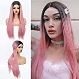 Ombre Pink Wig with Dark Roots Long Straight Synthetic Wig with Middle Part Fashion Pink Wigs for Women Heat Resistant 22 inches