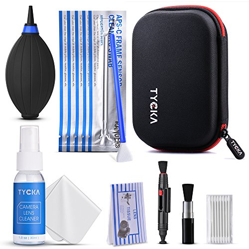 Tycka Professional Camera Cleaning Kit (with Waterproof case), 30ml Non-Toxic Alcohol-Free Cleaning Solution, Improved uni-Body air Blower, Cleaning swabs, lenspen for DSLR, Lens and Sensors