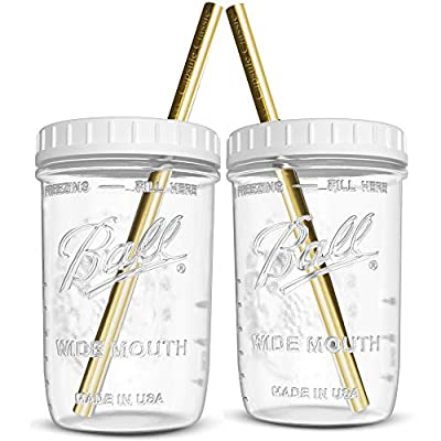 Reusable Wide Mouth Smoothie Cups Boba Tea Cups Bubble Tea Cups with Lids and Gold Straws Ball Mason Jars Glass Cups (2-pack, 16 oz mason jars) Brand Capsule Classic