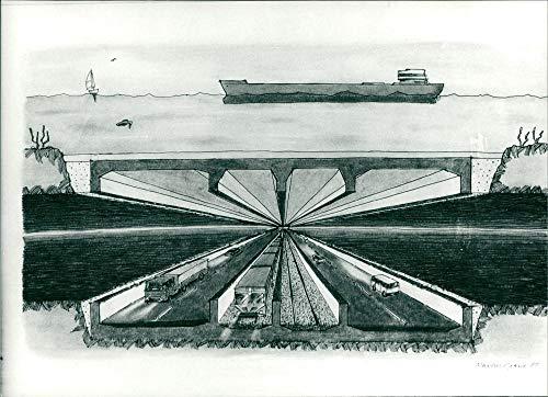 Ilustración de Öresund Bridge - Vintage Press Photo