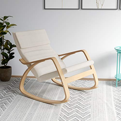 HOMECHO Comfortable Rocking Chair, Upholstered Rocker Lounge Chair for Living Room Bedroom, Relax Armchair with Removable Cover, Wood Base, Beige