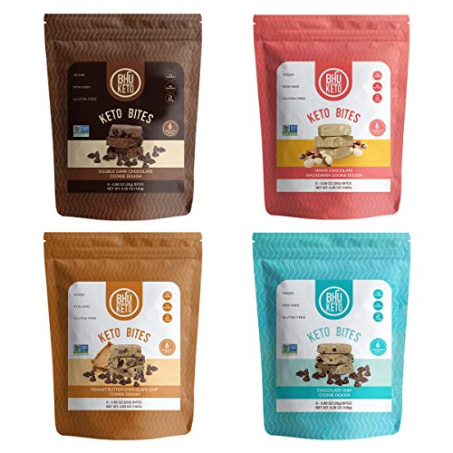 BHU Keto Bites - 4 Bag Variety Pack with 6 Individually Wrapped Protein Snacks per Bag for On The Go - Made Fresh Daily - Natural & Organic Ingredients - Low Carb, Vegan, Gluten-Free & Non-GMO