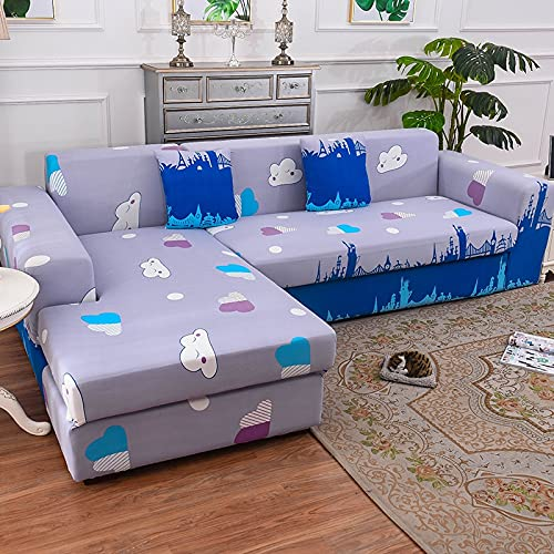 ASCV Elastic Sofa Cover, Used For Living Room Decoration Printing Sofa Cover, Soft, Universal, Cross-Section Elastic Cover A7 2 Seater