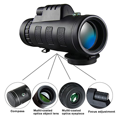 Monocular Telescope, Pajuva High Power Monocular Scope Waterproof Monoculars with Phone Clip and Tripod for Cell Phone for Bird Watching