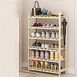 Estante de zapatos Zapatero zapatero de bambú natural zapatero, 7 estante del zapato, Armario empotrado, Estante, ahorro de espacio zapatero, duradero y estable en almacenamiento Estante de zapatos de
