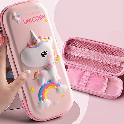 NYSYZSM Estuche 3D con diseño de unicornio rosa para la escuela, oficina, caja de lápices EVA para suministros escolares, bolsa de bolígrafos portátil para niños, 23 x 10,5 cm, color rosa claro