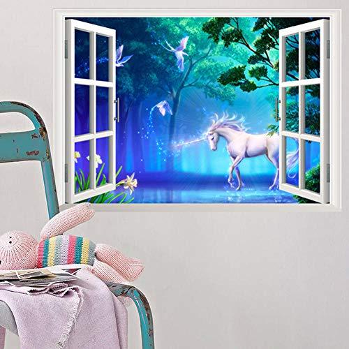 Decors Girl1 Driedimensionale bos wit paard nep raam woonkamer tv achtergrond muur Sticker muurschildering