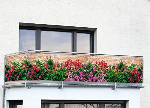 WENKO Sichtschutz Mauer-Blumen, Polyethylen, 85 x 500 cm, Mehrfarbig