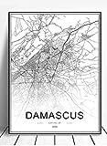 Wuqianjin Syrien Damaskus Karte Poster Moderne Kunst Drucke