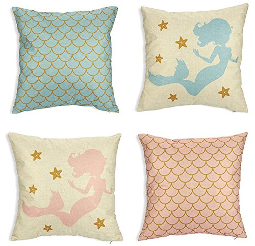 Mermaid Pillow Covers - 4-Pack Decorative Couch Throw Pillow Cases for Girls, Home, Bed Room Decoration Cushion Covers - Pastel Scallop Pattern and Mermaid Printed Design, Pink and Blue, 17 x 17 Inch