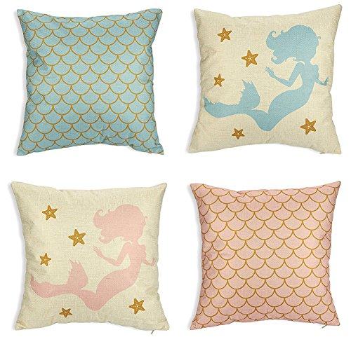 Sirena manta fundas de almohada–Pack de 4unidades decorativo sofá fundas de almohada para las niñas, casa decoración fundas de cojín, rosa y azul, 17x 17pulgadas