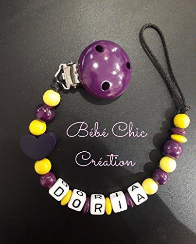Attache sucette personnalisable violet et jaune