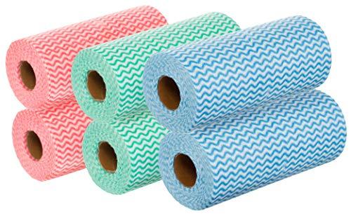 BRANDSSELLER Wischtücher auf 6 Rollen mit Gesamt 300 Putztüchern - Mehrfarbig Blau/Rot/Grün