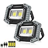 Rechargeable LED Work Light,Sonee 30W 1500 Lumens Ultra Bright Portable Work Lights with Stand Battery Powered Flood Light for Garage Outdoor Camping Emergency and Job Site Lighting (GRAY/2PACK)