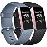 AK Correa para Fitbit Charge 3/Charge 3 SE, Reemplazo Ajustable Correa Accesorios Deporte para Fitbit Charge 3 (Y-Black+Blue Gray, Small)