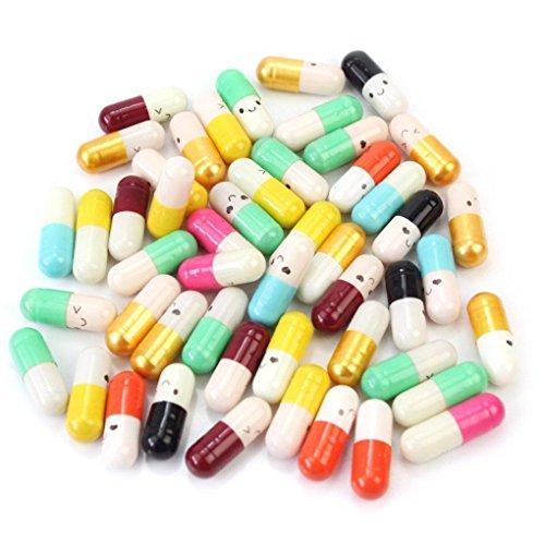 Memay Message in a Bottle Message Cute Love Half Color Pill Capsule Letter, 50Pcs