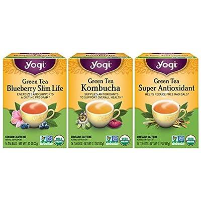 Yogi Tea - Green Tea Variety Pack Sampler (3 Pack) - Includes Green Tea Blueberry Slim Life, Green Tea Kombucha, and Green Tea Super Antioxidant Teas - 48 Tea Bags