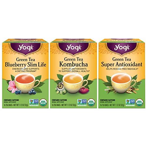 Yogi Tea - Green Tea Variety Pack Sampler (3 Pack) - Includes Green Tea Blueberry Slim Life, Green Tea Kombucha, and Green Tea Super Antioxidant Teas - Contains Caffeine - 48 Organic Green Tea Bags