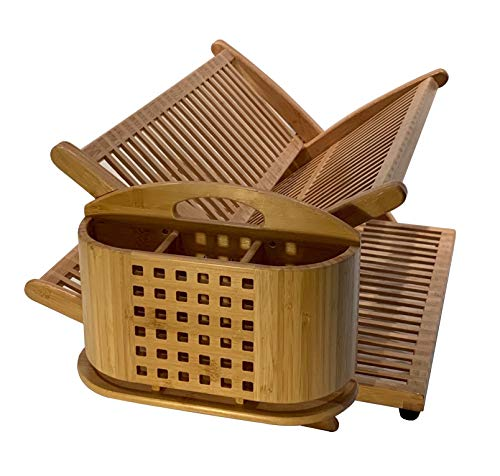 Eco Friendly Bamboo Dish Drying Rack with detachable Utensil Holder