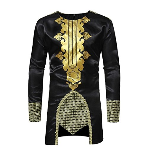 Gusspower Camisa para Hombre Manga Larga con Estampado Africano Tradicional en Color Tops para Fiesta campestre Camiseta Tribal